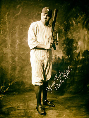 Babe Ruth Vintage Photograph - Babe Ruth 1920 by Mountain Dreams