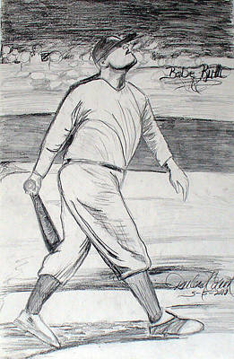 Babe Ruth Drawing - Babe Ruth 2 by Darlene Ricks- Parker