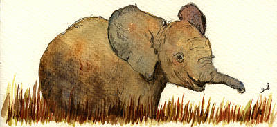 Orientalist Painting - Baby Elephant by Juan  Bosco
