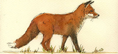 Fox Painting - Baby Red Fox by Juan  Bosco