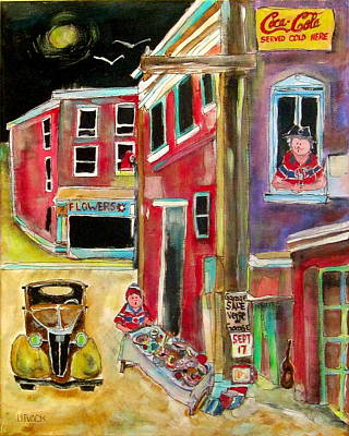 Litvack.old Cars Painting - Back Lane Garage Sale by Michael Litvack