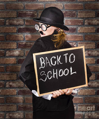 Subject Photograph - Back To School Teacher Holding Blackboard And Chalk by Jorgo Photography - Wall Art Gallery