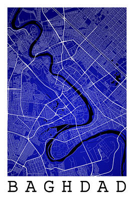 Iraq Digital Art - Baghdad Street Map - Baghdad Iraq Road Map Art On Color by Jurq Studio