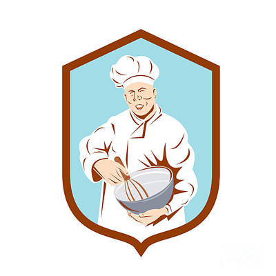 Mixing Bowls Digital Art - Baker Chef Cook Mixing Bowl Shield Retro by Aloysius Patrimonio