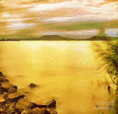 Water Filter Painting - Balaton Landscape by Odon Czintos