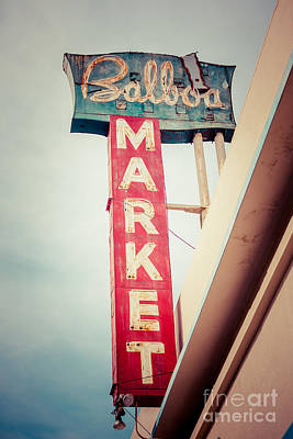 Balboa Market Sign Newport Beach Photo Art Print by Paul Velgos