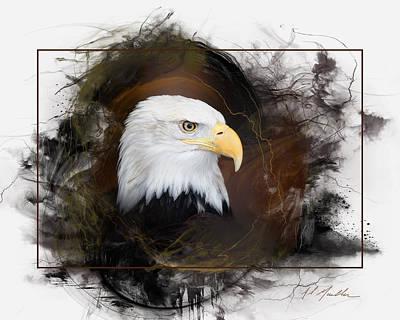 Thermal Digital Art - Bald Eagle Portrait by Al  Mueller