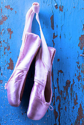 Photograph - Ballet Shoes On Blue Wall by Garry Gay