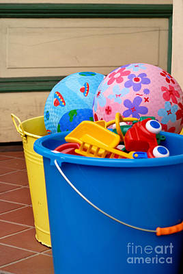 Balls And Toys In Buckets Art Print