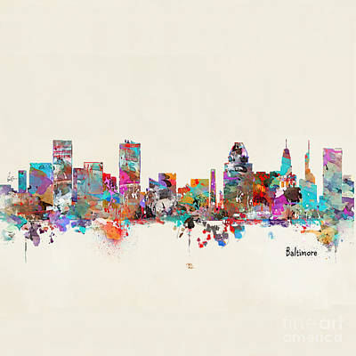 Painting - Baltimore Maryland Skyline by Bleu Bri