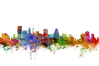 Baltimore Maryland Skyline Art Print by Michael Tompsett