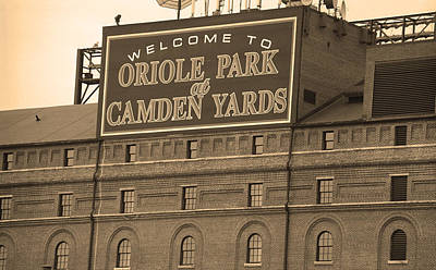 Baseball Mural Photograph - Baltimore Orioles Park At Camden Yards by Frank Romeo