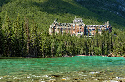 Rocky In Spring Photograph - Banff Springs Hotel By Bow River by Panoramic Images