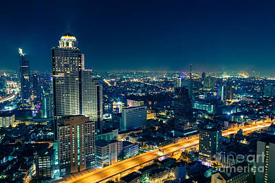 Sirocco Photograph - Bangkok City Skyline At Night by Fototrav Print