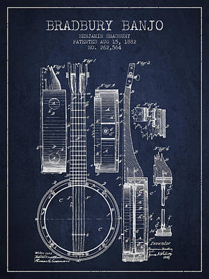 Banjo Drawing - Banjo Patent Drawing From 1882 - Blue by Aged Pixel