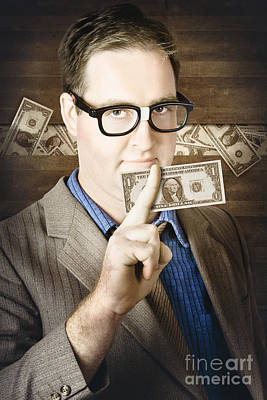 Banking Business Man With American Money Art Print by Jorgo Photography - Wall Art Gallery