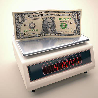 Banknote Photograph - Banknote On Scales by Ktsdesign