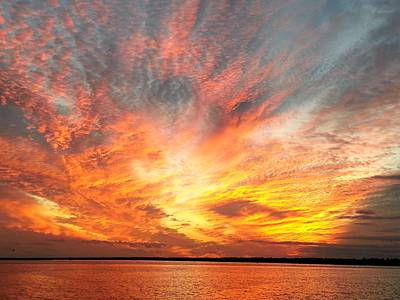 Blazing Sun Photograph - Masonboro Inlet Sunset by Karen Rhodes