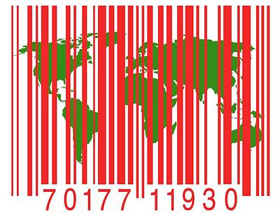 Bar Code With The World Map Art Print by Victor De Schwanberg