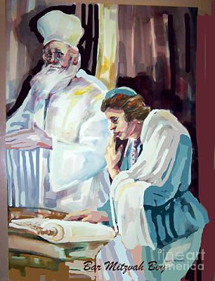Talmud Painting - Beloved Bar Mitzvah Boy by Shirl Solomon