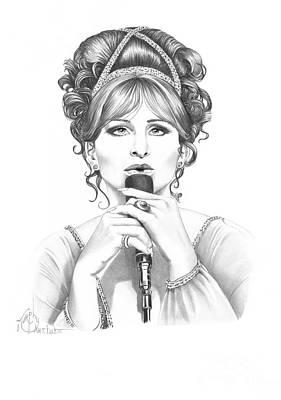 Famous People Drawing - Barbara Streisand by Murphy Elliott