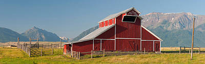 Wallowa Photograph - Barn In A Field With A Wallowa by Panoramic Images