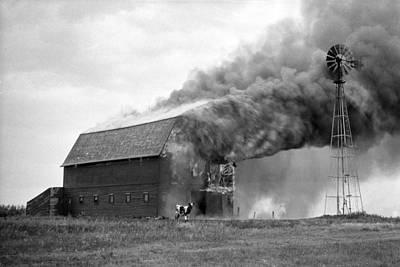 Lightning D Photograph - Barn On Fire by Donald  Erickson