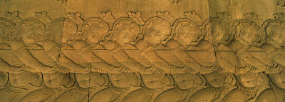 In Relief Photograph - Bas Relief In A Temple, Angkor Wat by Panoramic Images