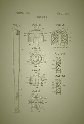 Baseball Art Drawing - Baseball Bat Construction Patent 1974 by Mountain Dreams