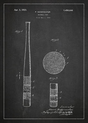 Baseball Glove Digital Art - Baseball Bat Patent Drawing From 1920 by Aged Pixel
