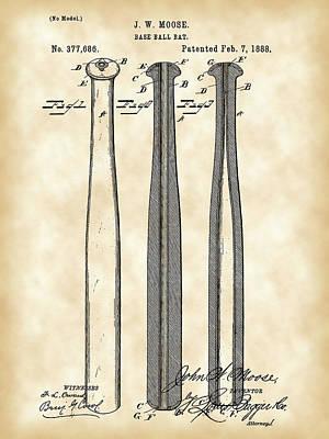 Baseball Bat Patent 1888 - Vintage Art Print by Stephen Younts