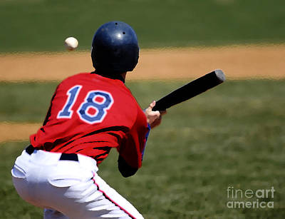 Bunting Mixed Media - Baseball Batter by Lane Erickson