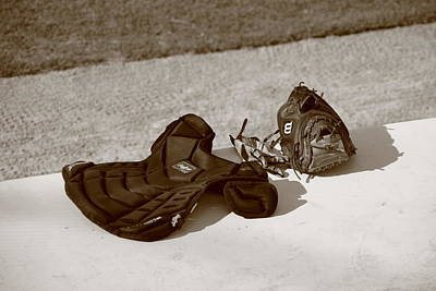 Baseball Glove And Chest Protector Art Print by Frank Romeo