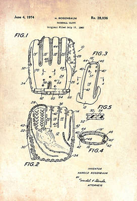 Baseball Glove Drawing - Baseball Glove Patent 1974 by Mountain Dreams
