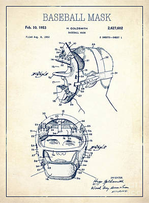 Single Object Drawing - Baseball Mask Patent White Us2627602 A by Evgeni Nedelchev