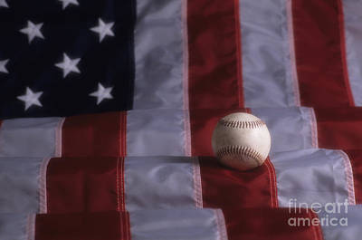 Photograph - Baseball On American Flag by Jim Corwin