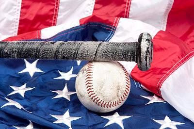 Baseball On American Flag Art Print by Joe Belanger