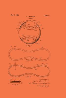 Baseball Art Drawing - Baseball Patent 1928 by Mountain Dreams