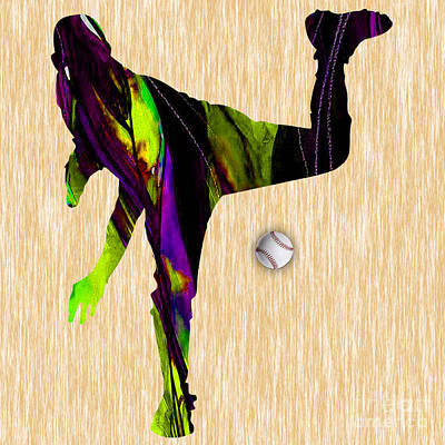 Ballgame Mixed Media - Baseball Pitcher by Marvin Blaine