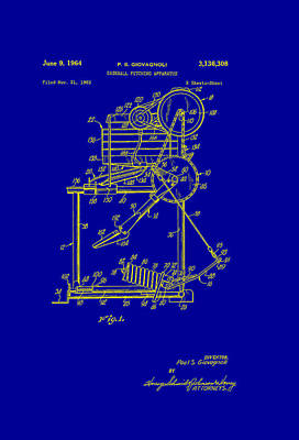 Batting Drawing - Baseball Pitching Machine Patent 1964 by Mountain Dreams