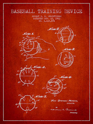 Baseball Digital Art - Baseball Training Device Patent Drawing From 1963 by Aged Pixel