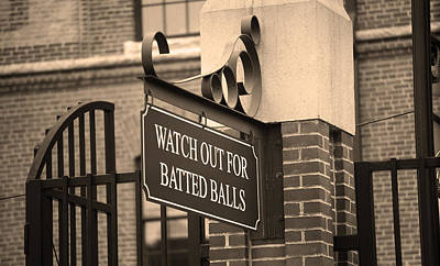 Baseball Mural Photograph - Baseball Warning by Frank Romeo