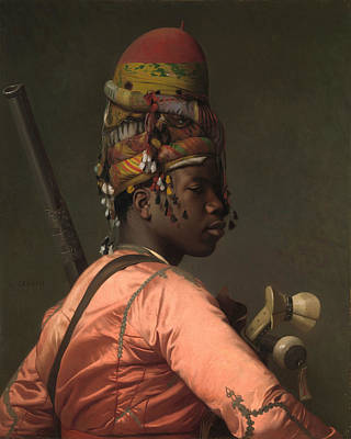 African Men Painting - Black Bashi-bazouk by Jean-Leon Gerome