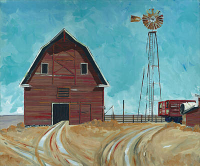 Barn Landscape Painting - Basic Barn by John Wyckoff