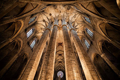 Medieval Temple Photograph - Basilica Of Santa Maria Del Mar In Barcelona by Artur Bogacki