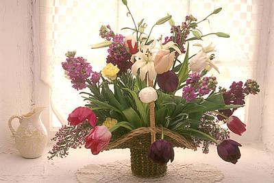 Basket Of Flowers In Window Art Print by Garry Gay