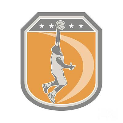 Basketball Player Rebounding Ball Shield Retro Art Print