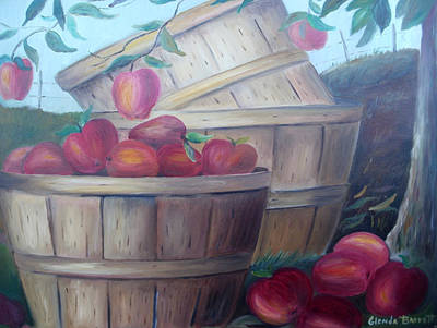 Baskets Of Apples Art Print by Glenda Barrett