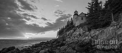 Bass Harbor Head Light Sunset  Art Print by Michael Ver Sprill