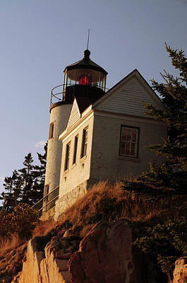 Bass Harbor Head Lighthouse In Late Art Print by Michel Hersen